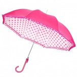 Seeing Spots Umbrella with Pom Poms - Pink & White