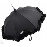 Lisbeth Dahl - Black Frilly Edge Umbrella - Layla