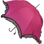Scalloped Umbrella - Pink with Black Lace Trim