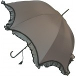 Scalloped Umbrella - Grey with Black Lace Trim