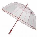 See Through Deluxe Umbrella - Red (Golf Sized)