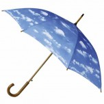 Wood Crook Handle Umbrella - Partly Cloudy