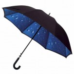 Black Double Canopy Walking Umbrella - Raindrops Design