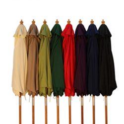 2.5m Wood Pulley Parasol Umbrella