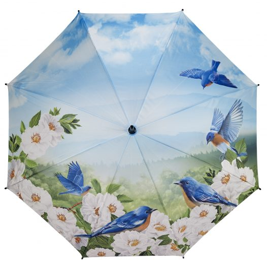 Blue Stick Birds Umbrella Open