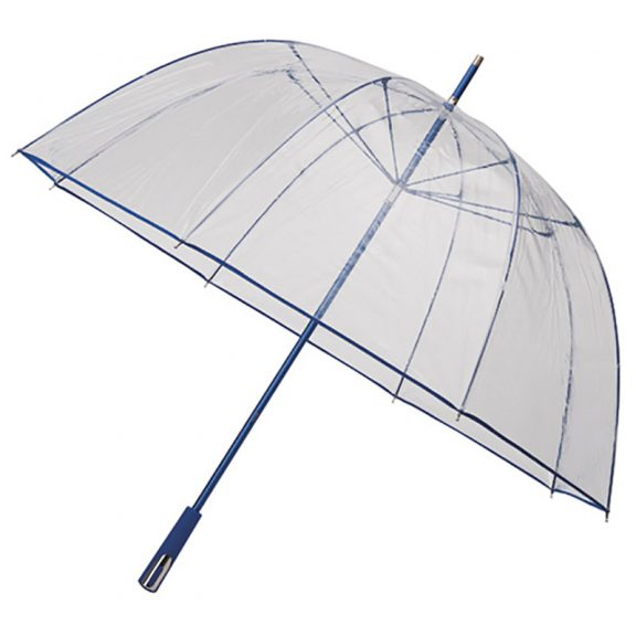 See Through Clear Deluxe Umbrella - Royal Blue (Golf Sized)