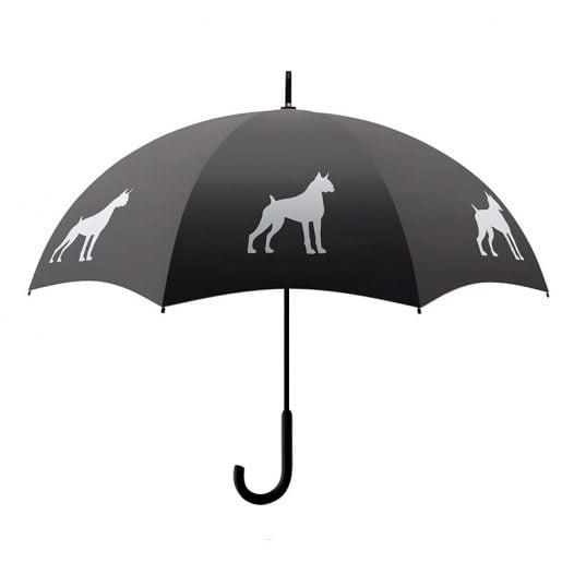 Boxer Dog Print Umbrella - Black & White