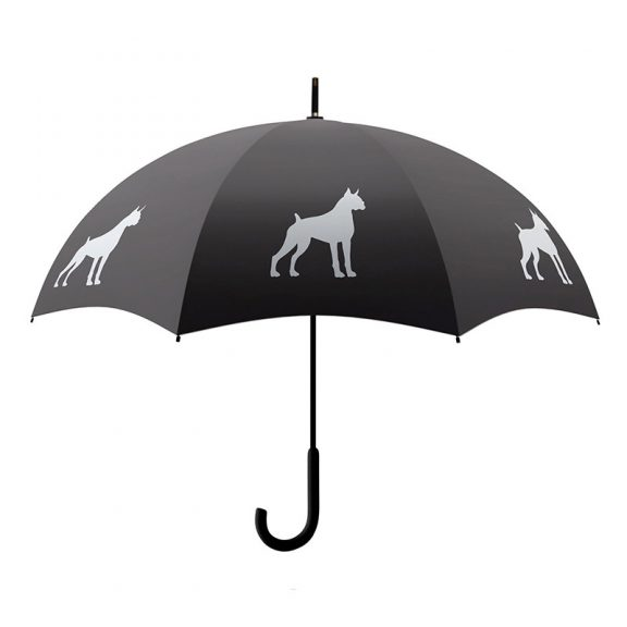 Boxer Dog Print Umbrella - Black & White