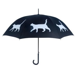 Cat Print Umbrella - Black & White