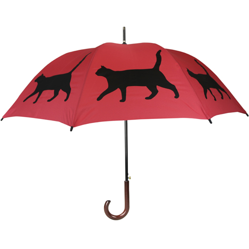 Cat Print Umbrella - Red & Black