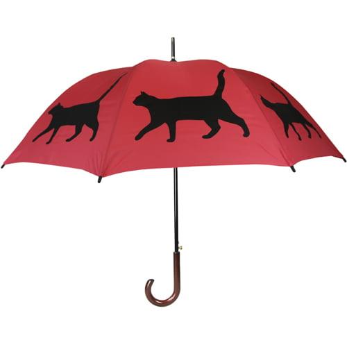 Cat Print Umbrella - Red & Black
