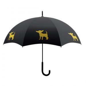 Chihuahua Dog Print Umbrella - Gold & Black