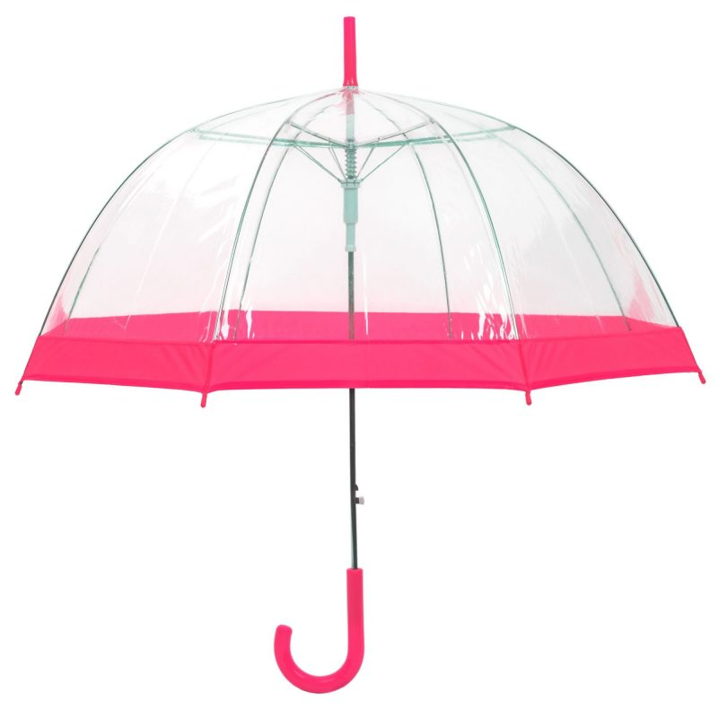 Clear Dome Umbrella Pink Trim upright