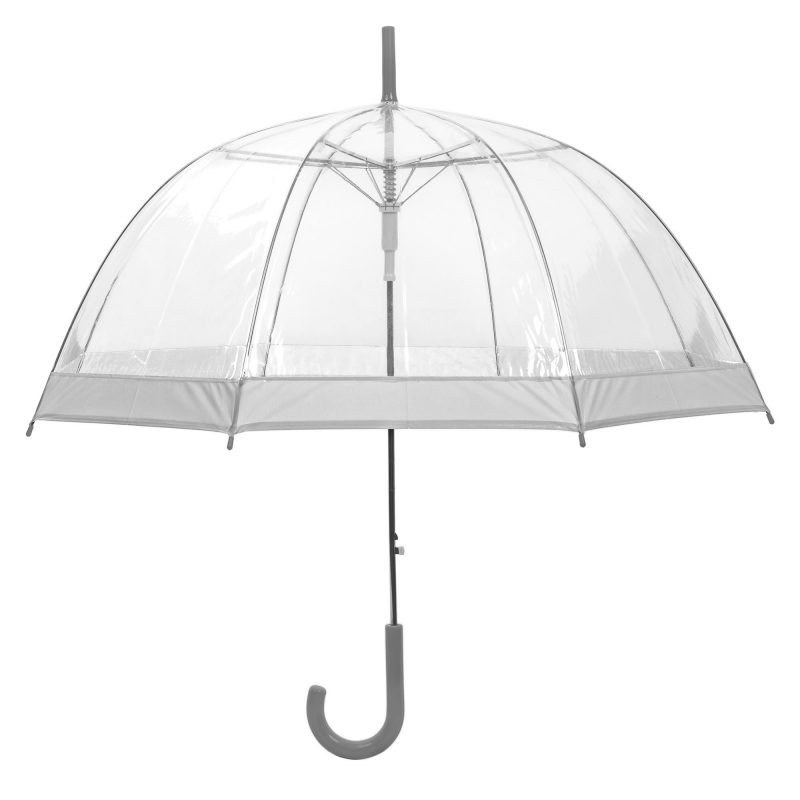 Clear Dome Umbrella Silver Trim upright