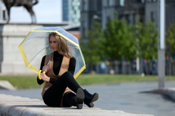 Clear Dome Umbrella Yellow Trim Lifestyle close up