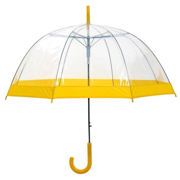 Clear Dome Umbrella Yellow Trim upright