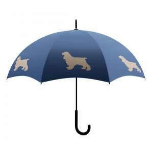 Cocker Spaniel Dog Print Umbrella - Blue & Beige