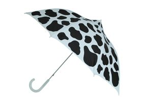 Cow Print Umbrella Black White