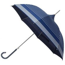 navy silver striped pagoda umbrella