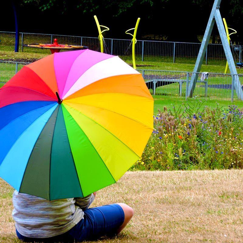 Rainbow Walking Umbrella in the park