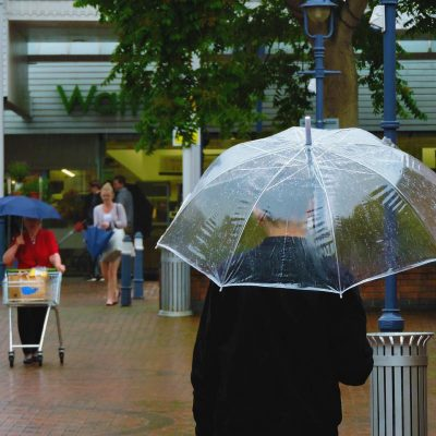 Clear Umbrella White Trim shopping
