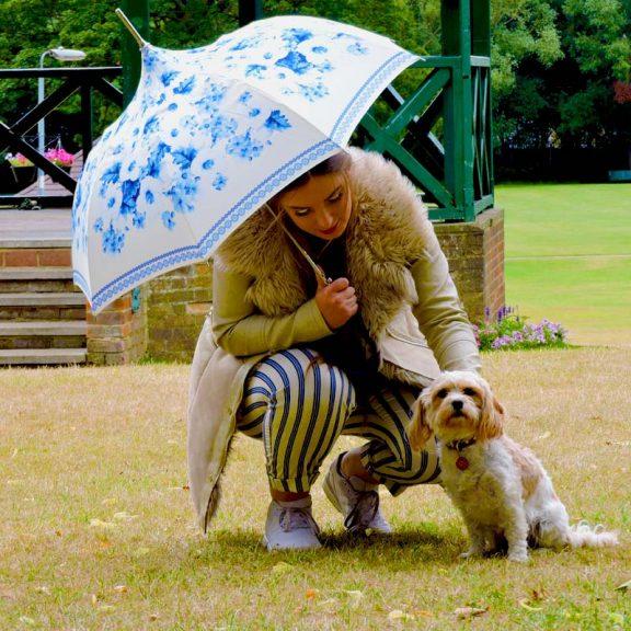 Copenhagen Blue Floral Pagoda Umbrella Girl with Dog
