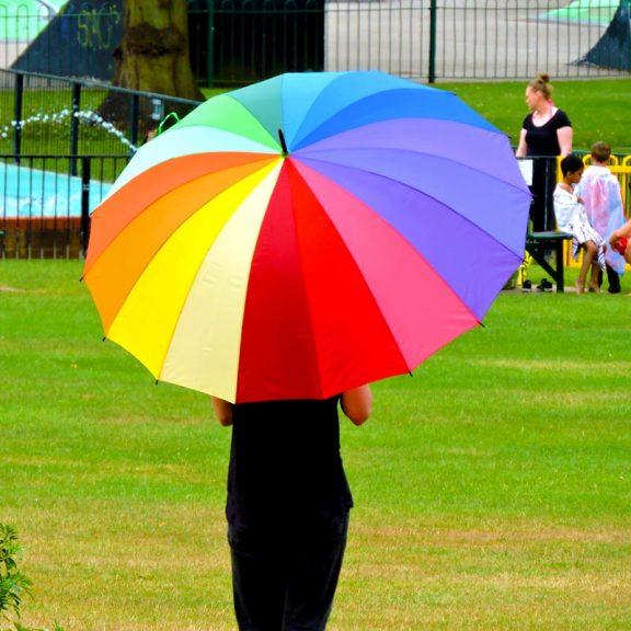 Rainbow Golf Umbrella in the park