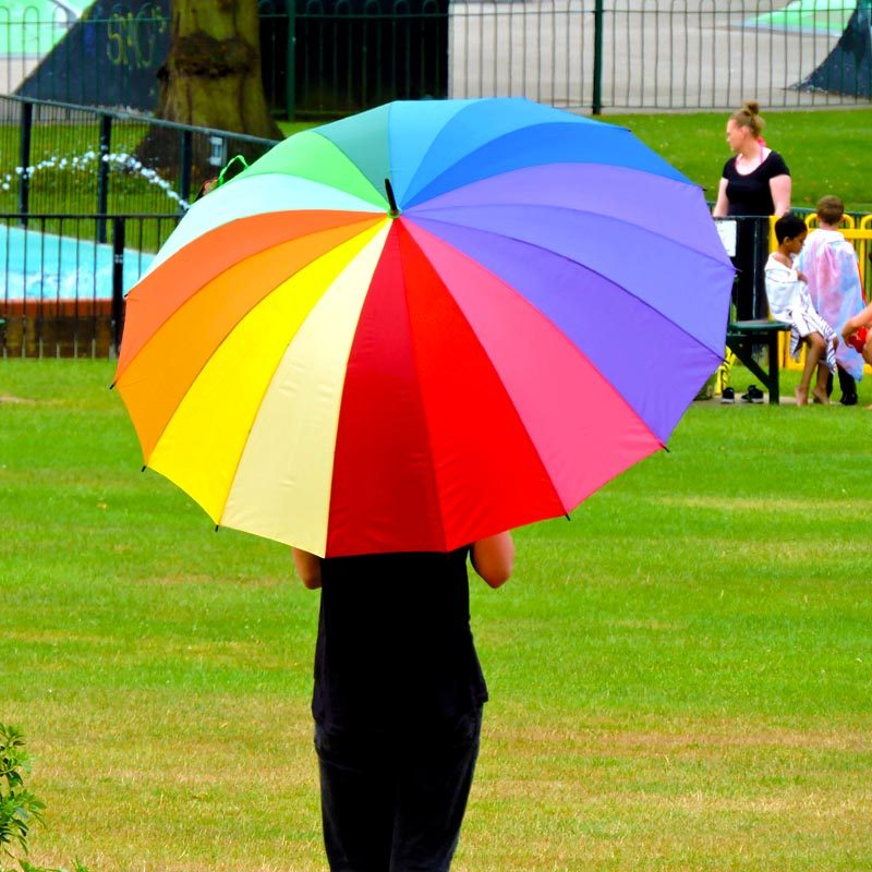 Rainbow Golf Umbrella in the park