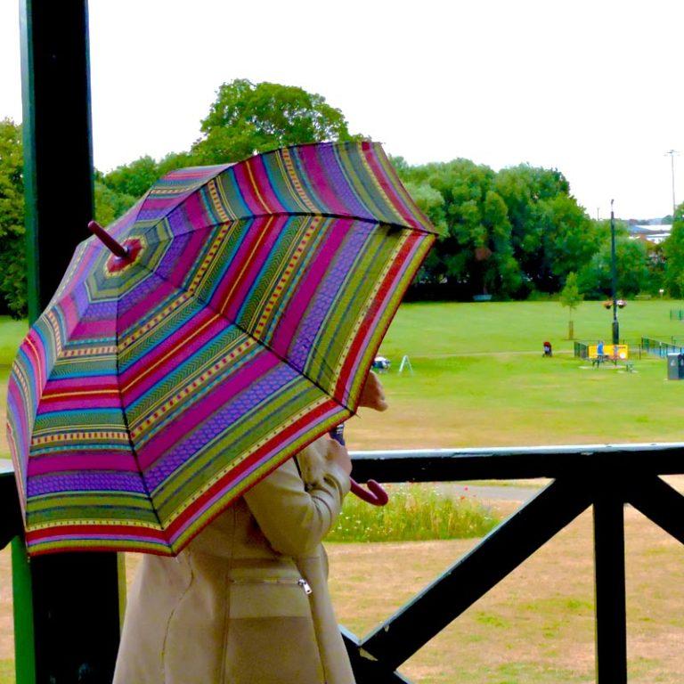Perletti Designer Umbrella Azteco in the park