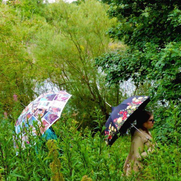 Cityscape Walking Umbrella and Floral Pagoda umbrella in the jungle