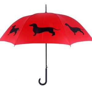 Dachshund Dog Print Umbrella - Red & Black