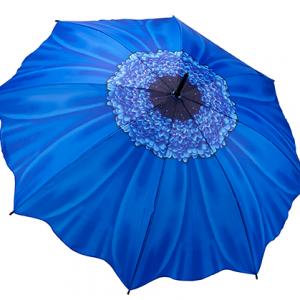 Blue Daisy Floral Stick Umbrella