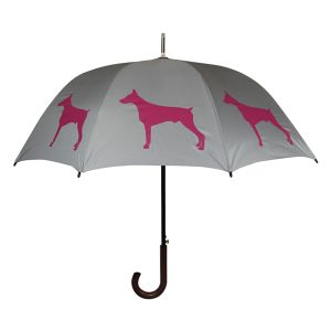 Doberman Dog Print Umbrella - Grey & Pink