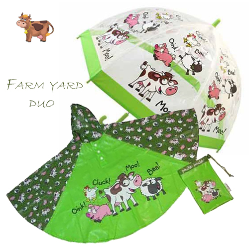 farmyard Duo Umbrella Poncho kids raincoats