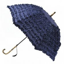 FiFi Blue Frilled Umbrella Parasol - Bleu Marine