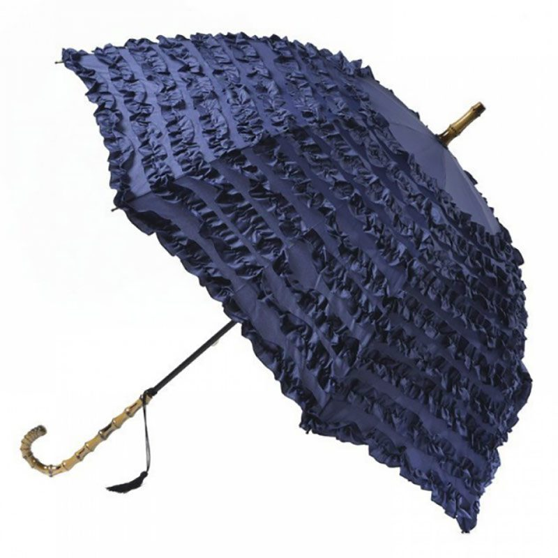 FiFi Blue Frilled Umbrella Parasol - Bleu Marine