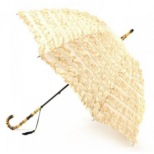 FiFi Frilled Parasol Creme / creme wedding umbrella