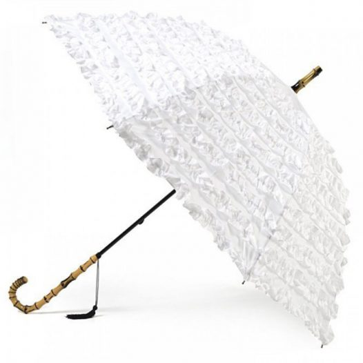 frilled wedding parasol / white frilled umbrella