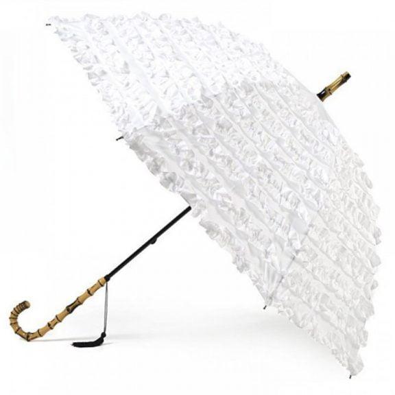 frilled wedding parasol / white frilled umbrella