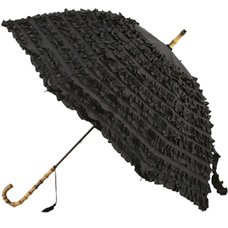 black frilled umbrella