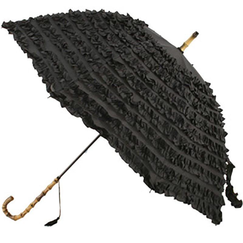 black frilled umbrella
