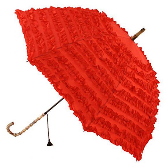 FiFi Red Frilled Umbrella