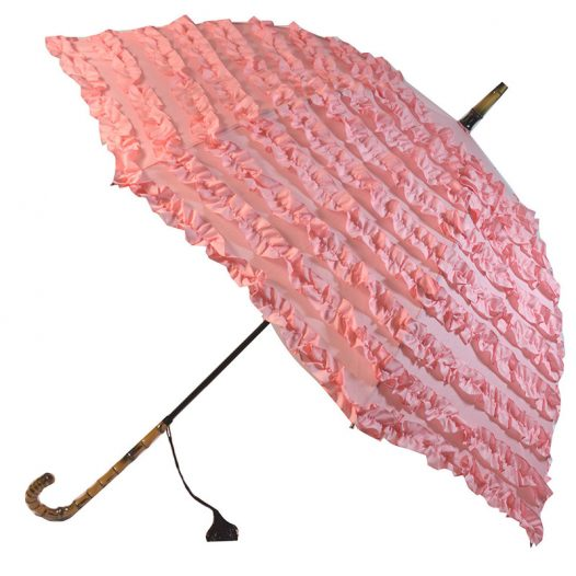 pink frilled umbrella