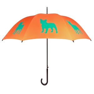 French Bulldog Print Umbrella - Orange & Turquoise