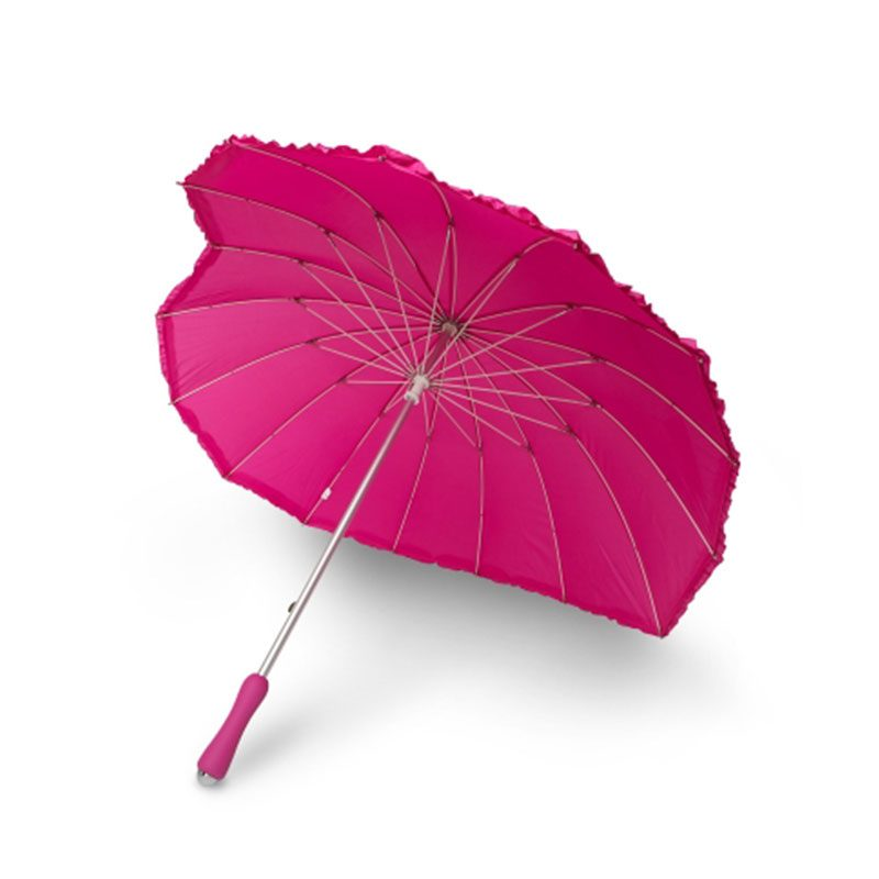 Frilled Pink Heart Umbrella Side