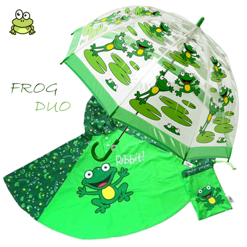 frog Duo Umbrella Poncho kids raincoats
