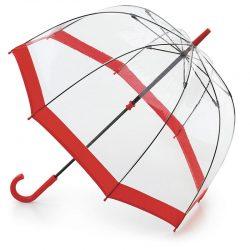 Red Trimmed Dome Umbrella / Fulton Birdcage Umbrella