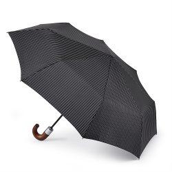 Black Travel Umbrella / Chelsea Black City Stripe