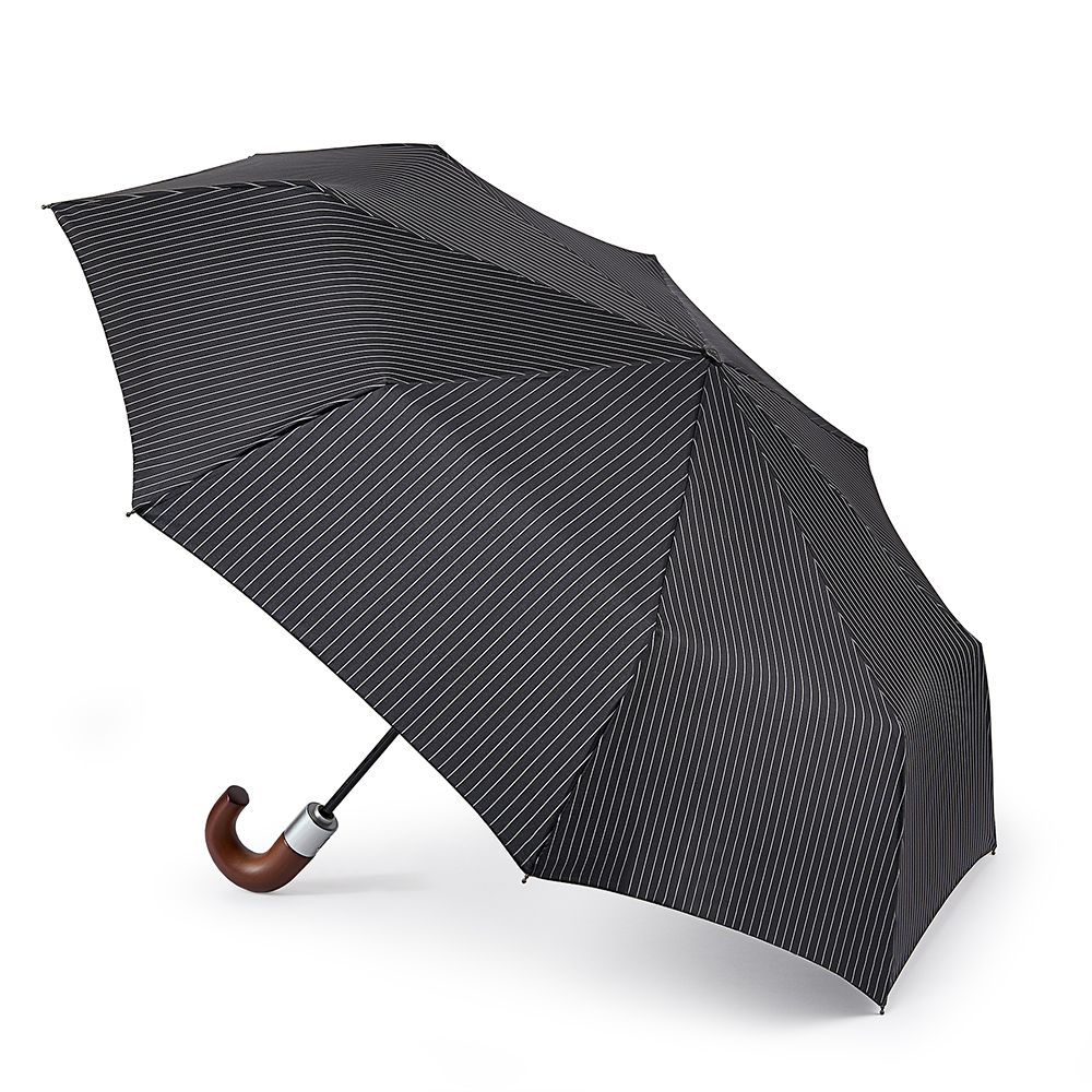 Black Travel Umbrella / Chelsea Black City Stripe