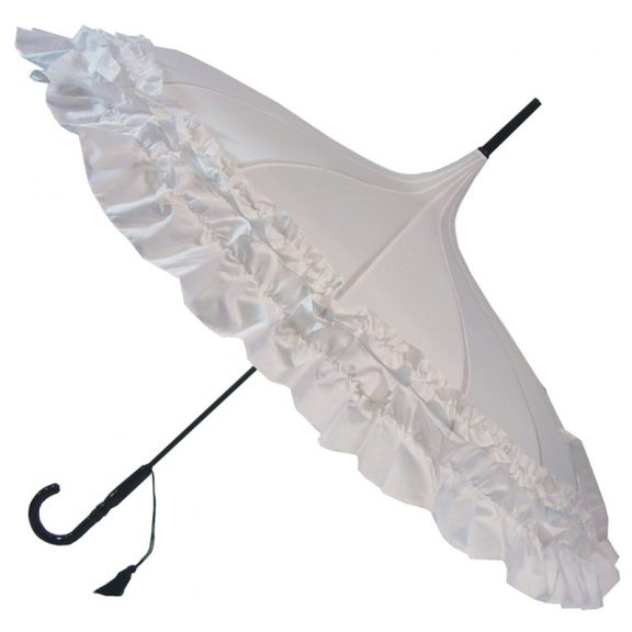 GiGi Pagoda Frilly Umbrella - Double Frill - White